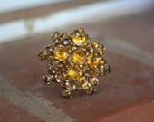 R30 Upcycled Amber Crystal Flower Rhinestone Adjustable Cocktail Ring
