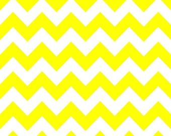 SPRING SALE - Medium Chevron Stripe in Neon Yellow - C320-103 - 1 Yard - Riley Blake Designs