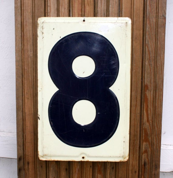 Vintage Embossed Tin Gas Station Sign Number Eight 8