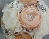Large vintage fabric bouquet - coral shades, ivory,cream, tan and champagne loaded with crystals and brooches
