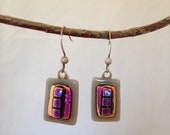 Grey and Pink Dichroic Glass Earrings