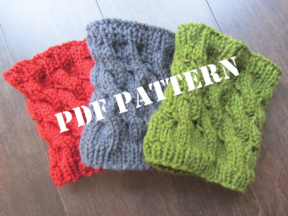 PATTERN Cabled Boot Cuffs and Legwarmers Knitted DIY