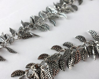 Leaf Chain, Leaf Charm Chain, Silver Leaf Chain, Chain for Jewelry, 24 Inches Leaf Design Chain, Silver Plated Necklace, 1 Piece SPF40350