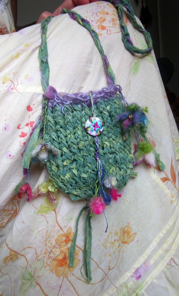handknit rustic elven forest fairy treasure bag - from an enchanted meadow