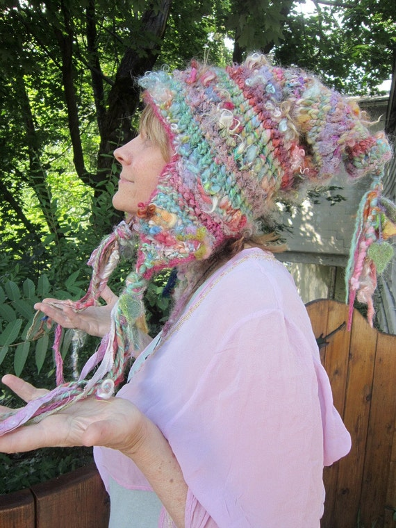 rustic, soft and warm handknit earflap slouchy fairy hat -  ninny's beautiful day out