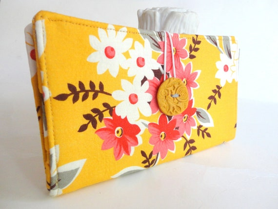 Fabric Tampon and Pad Clutch in Salmon Pink White Cantelope Handmade Privacy Case - Bouquet