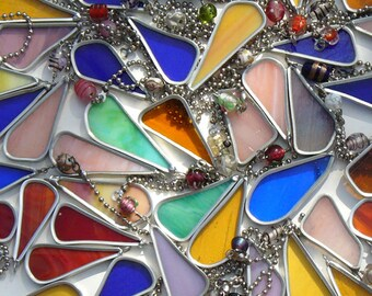 Stained Glass Tear Drop Fan Pulls