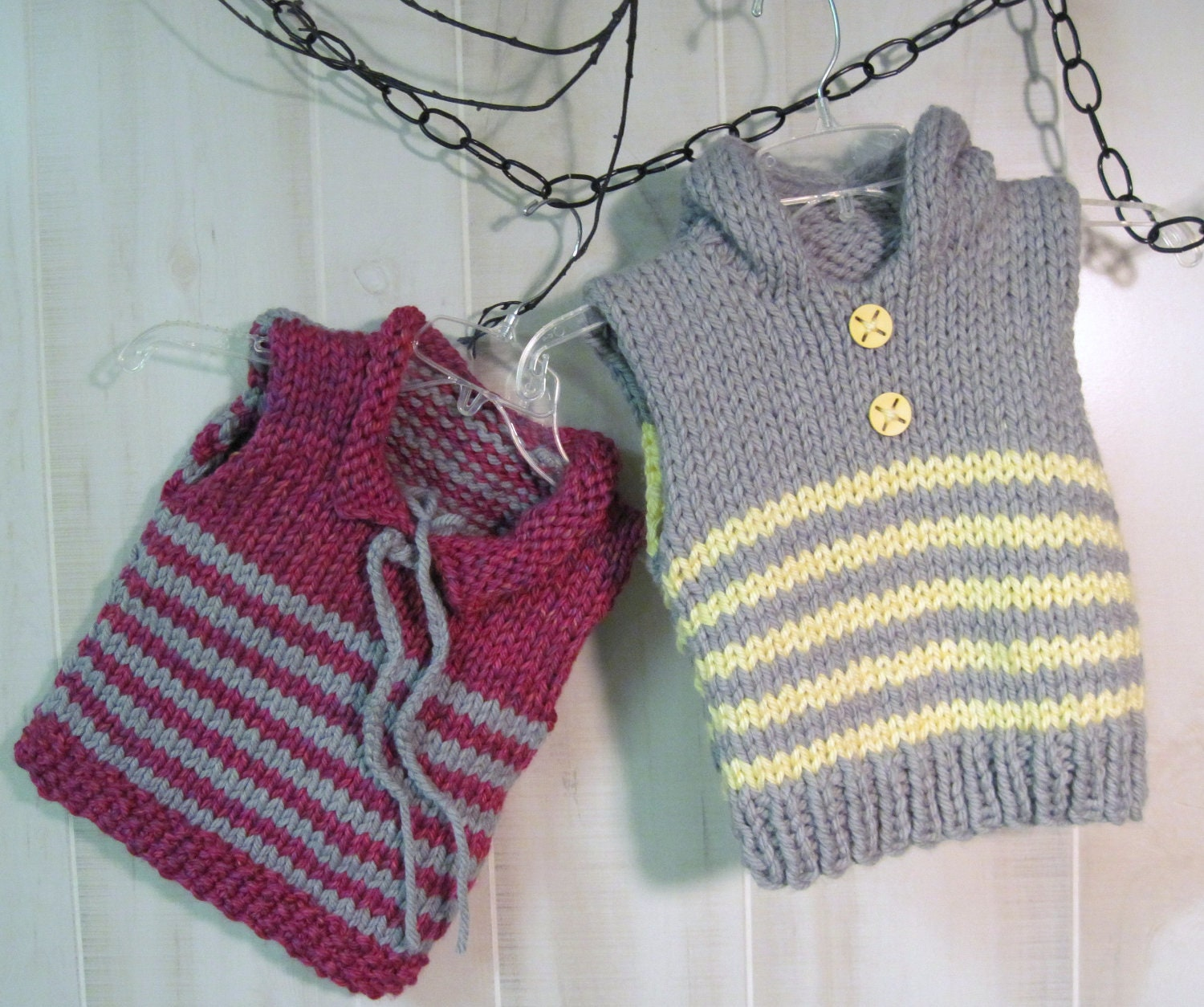 Knitting Pattern Vest Child : Striped Toddler Vest with Hoodie in Bulky Knit Pattern Child