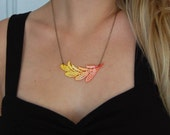 Ombre Dip Dye Leaf Venice Lace Necklace-Red, Orange, Yellow Ombre