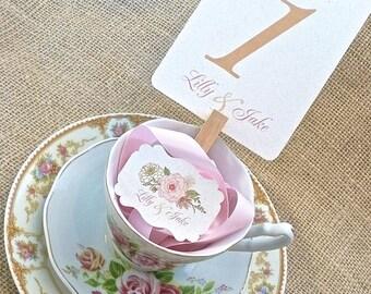 Burlap Pink Champagne Blush English Rose Wedding Table Number