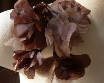 Brown Flowers Silk Organza for Bridal, Headbands, Hats, Sashes, Boutonnieres, Corsages. MF38