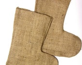 2 Burlap Christmas Stockings - Blank Ready to Embellish