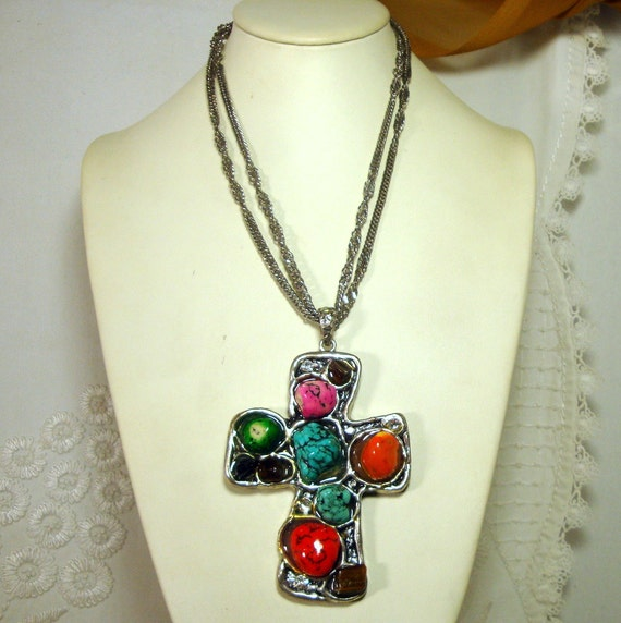 Giant ARTSY Christian Cross Pendant, OOAK by Rachelle Starr, Multicolor Nuggets On Silver metal, Double Silver Chains, Dramatic Faith