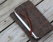 Waxed canvas foldover clutch rustic bag autumn wedding acorn checkerboard stitching