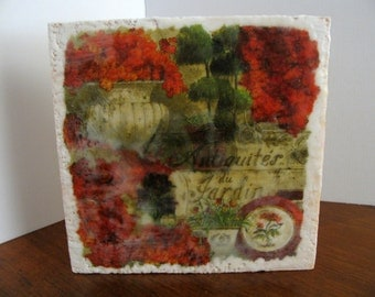 7.5 X 7.5 Antiquites du Jardin / Encaustic Mixed Media Collage on Solid Pine / Autumn / Fall / Harvest / SFA (Small Format Art)