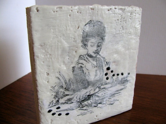 SALE Vintage Lady Writing - Original Encaustic Painting on Solid Oak