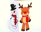 Baby's First Christmas 2012 JUMBO Wooden Toy Blocks reindeer stocking stuffer building toy