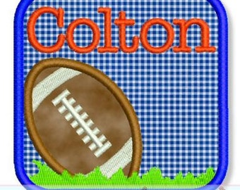 FOOTBALL FRAME Applique 4x4 5x7 6x10 Machine Embroidery Design fall game boy personalize  INSTANT Download