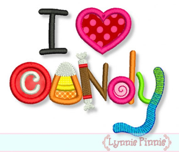 I LOVE CANDY Applique 4x4 5x7 6x10 Machine Embroidery Design Fall  Halloween  INSTANT Download