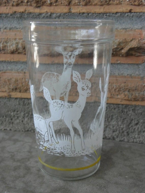 Vintage Deer Drinking Glass Doe and Fawns