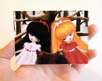 Snow White and Rose Red ACEO/ATC Premium Fine Art Mini Print Artist Trading Card 2.5x3.5