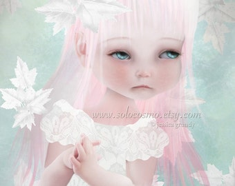 """Sweet Child Little Girl 8x10 or 8.5x11 A4 11x17 or 13x19 - """"Cultivate""""  - Blue and Pink - Giclee Print of Original digital Illustration"""