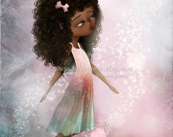 """Fantasy Fine Art Print African American Girl In Pinks and Greens """"Surrender II"""" 8.5x11 or 8x10 Premium Giclee Print - Pink and Purple"""