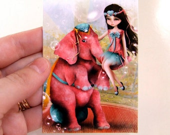 """Circus ACEO """"Chelsea y Beatriz Senora del Elefante Rosa"""" ATC Artists Trading Card Mini Premium Fine Art Print 2.5x3.5 inches"""
