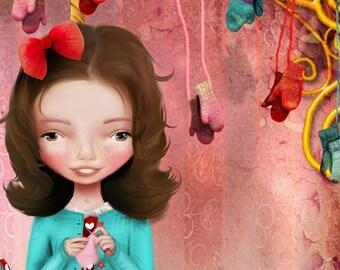 5x7 Art Print - 'Little Debbie' - Small Giclee Art Print - Little Girl on Carousel Giraffe - by Jessica Grundy