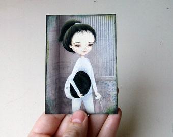 The Fencer ACEO/ATC Mini Print Artist Trading Card
