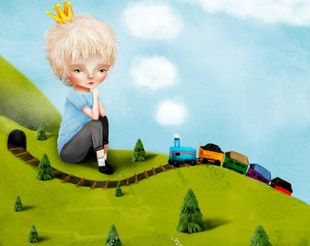 "Fine Art Print - ""Sampson"" - Little Boy and his Train - Cute Nursery Room Art - 11x17 or 13x19 Sized Giclee Print by Jessica Grundy"