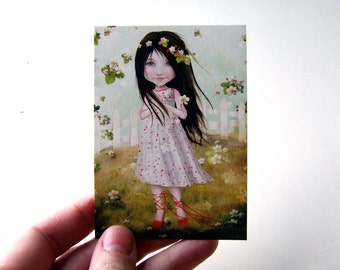 "ACEO/ATC - ""Annalise Lane"" - Artists Trading Card Premium Fine Art Mini Print 2.5x3.5 - Little Wild Strawberry Girl by Jessica Grundy"