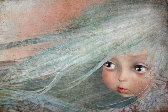 """Little Girl with Baby Blue Hair Sweet Child Print """"Winter""""  Art 8.5x11 or 8x10 Giclee Print of Original digital Painting"""