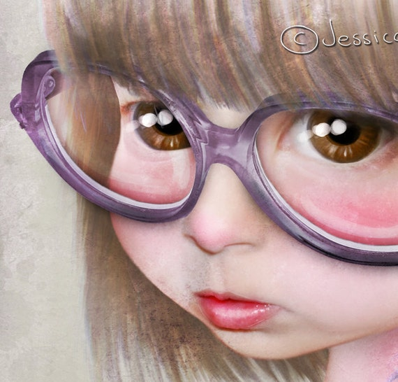 """5x7 Premium Art Print """"Imperfect - Portrait of the Artist as a Child"""" Small Size Giclee Print - Lowbrow Art Little Girl with Huge Glasses"""