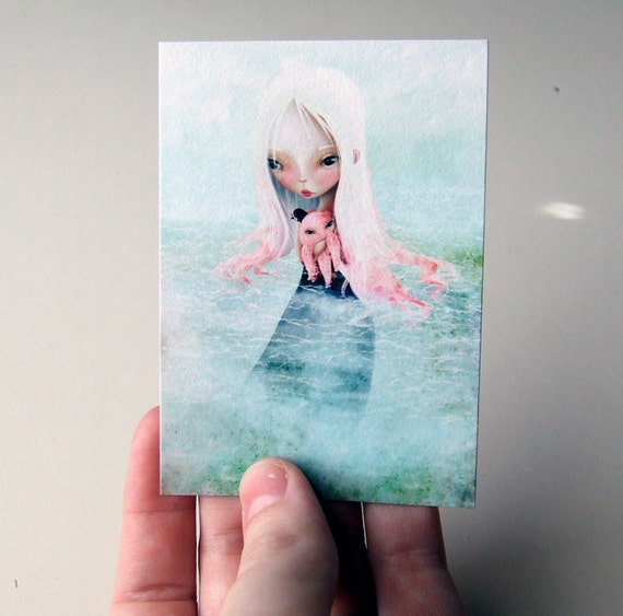 "ACEO ATC Artist Trading Card Mini Print - ""A Friend for the Journey"" - Small Fine Art Print - 2.5x3.5"""