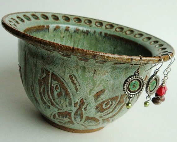 Ceramic earring bowl, ceramic jewelry bowl, ceramic earring holder. Vessel. Carved butterflies in gorgeous sage green, jade glaze. Christmas