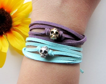 skull wrap bracelet in silver - skull charm with suede leather wrap bracelet - pick your color - arm candy - friendship bracelet - bohemian