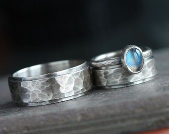 Custom Handmade Sterling Silver Wedding Band Set Oxidized Hammered
