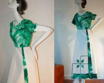 Vintage long dress, 60s 70s Psychedelic Vibrant Green & White Floral Print Party Dress, woman's dress, short sleeve unique dress, medium