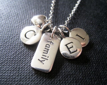 Family initial necklace, personalized jewelry, birthday gift for mom, three initial disk necklace, grandmother, reunion, word charm
