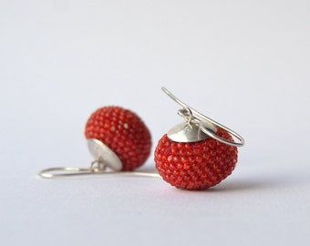 crocheted earrings unicolor red glass beads and silver925-length1,3inch-3,7cm