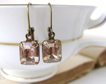 Vintage Rhinestone Earrings Peachy Pink Rosaline Glass in Antiqued Brass