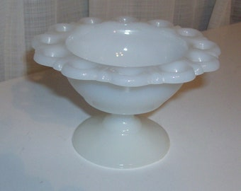 Milk Glass Footed Dish With Lacy Edge