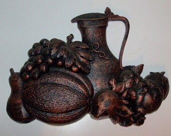 1975 Copper Toned Fruit and Pitcher Wall Plaque