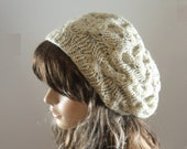 Winter Accessories hand knitted slouchy beret aran tweed cable hat