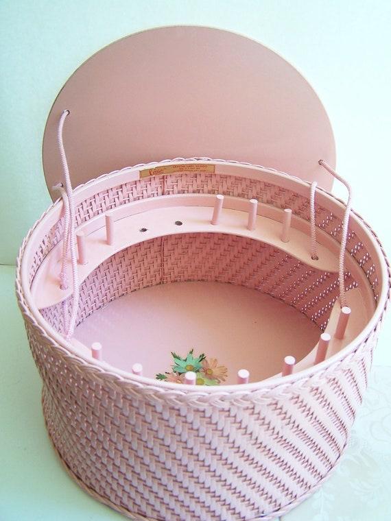 Vintage 50's Wicker Sewing Basket,  Cottage Chic Floral Basket, Pink Wood and Wicker Basket