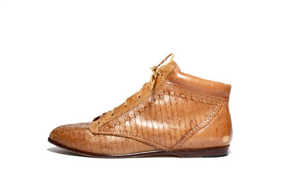 VTG 80's Woven Leather Oxford Ankle Boots 10