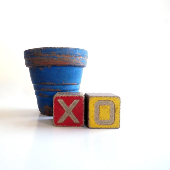 Vintage XO Wooden Alphabet Blocks - Disney Blocks