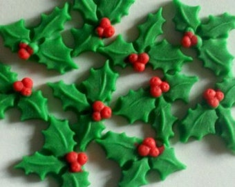 Christmas Holly/Berries-Fondant Cake/Cupcake Toppers-Set of 12