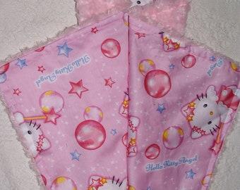 Hello Kitty Angel Sateen Cotton and Fuchsia Swirl Lovie Security Baby Blanket